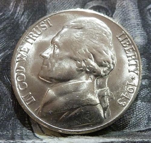 1943 S BU Silver War Jefferson Nickel Brilliant Uncirculated # 6002