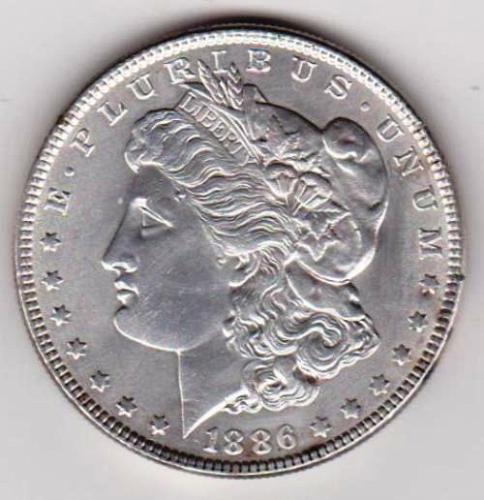 1886 Morgan Silver Dollar.