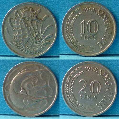 Singapore 10 and 20 Cents 2 pcs 1968 km 3 & 4