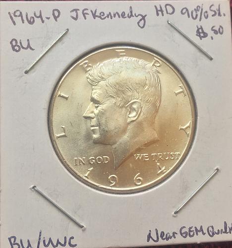 BU/UNC 1964-P 90% SILVER JF. KENNEDY HALF DOLLAR - AMAZING LUSTER!