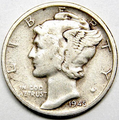 1945 S Mercury Dime #7  MICRO  S