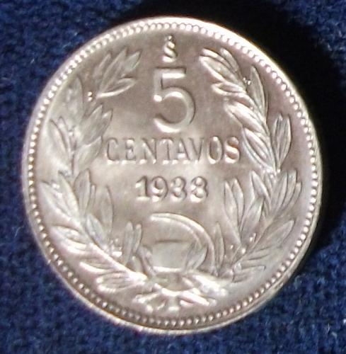 1938 Chile 5 Centavos BU