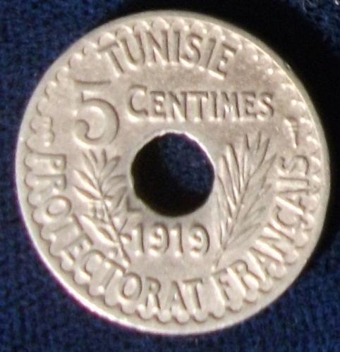 1919 Tunisia 5 Centimes XF