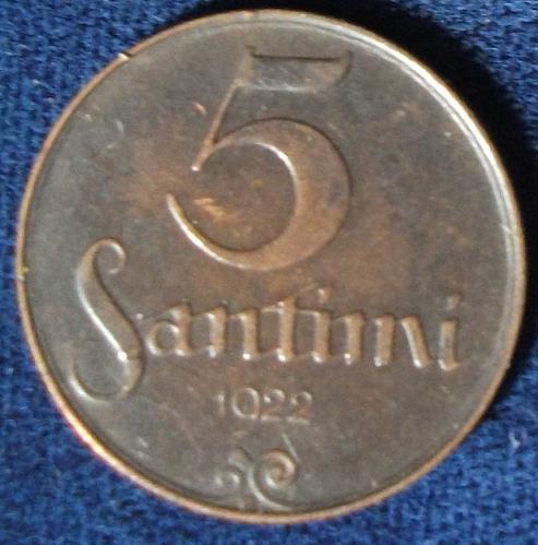 1922 Latvia 5 Santimi XF