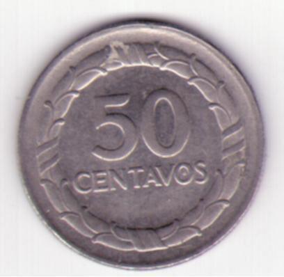 50 cents de la Republica de Colombia de 1967  Ensayos de Moneda y Piedforts