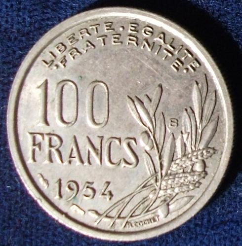 1954B France 100 Francs XF