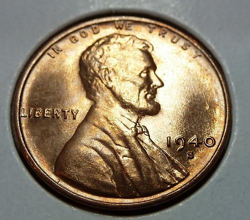 1940 S GEM BU Blazing RED Lincoln Wheat Cent. ( 2917 )
