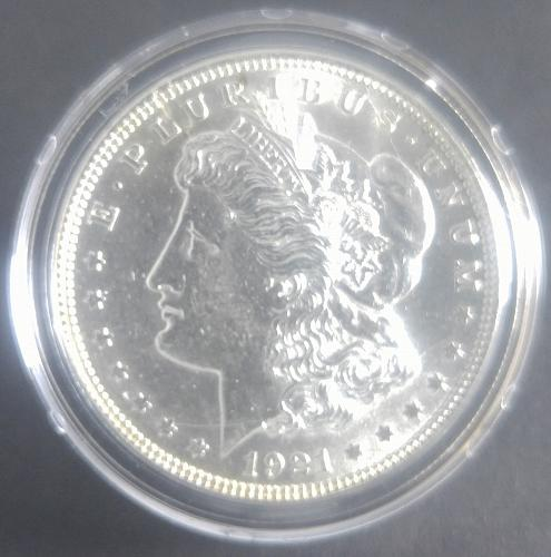 1921-P MORGAN SILVER DOLLAR, ENCAPSULATED, BOXED, THIS IS SPECIAL