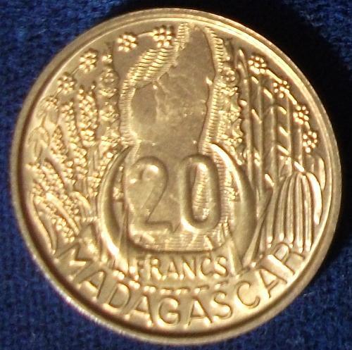 1953 Madagascar 20 Francs BU