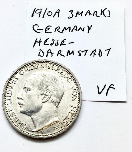 1910 A 3 Marks Germany Hesse - Darmstadt