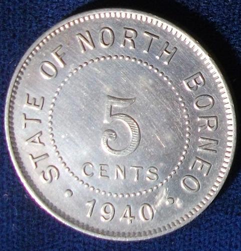 1940 British North Borneo 5 Cents XF Details
