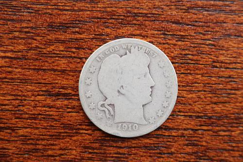 1910 Barber silver quarter