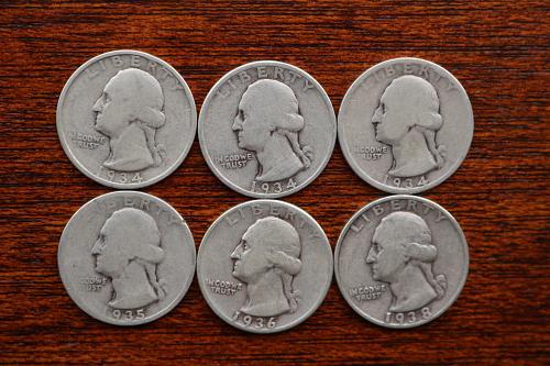1934 Washington Quarters pluss 35,36,38