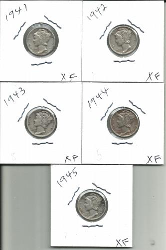 1941  P - 1945  P  MERCURY  DIME SET