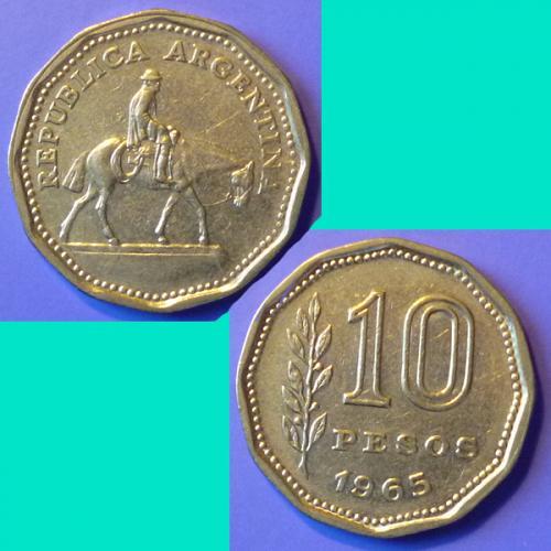 Argentina 10 Pesos 1965 km 60