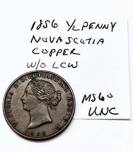 1856 Half Penny - Nova Scotia Copper W/O LCW