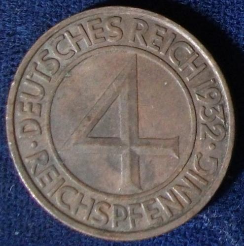 1932A Germany/Weimar 4 Reichspfennig AU