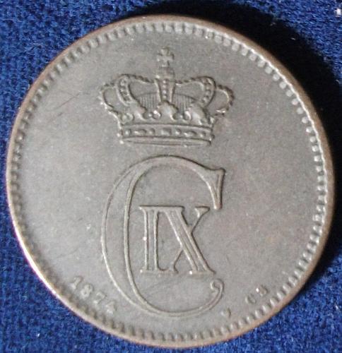 1874(h) CS Denmark 5 Ore VF
