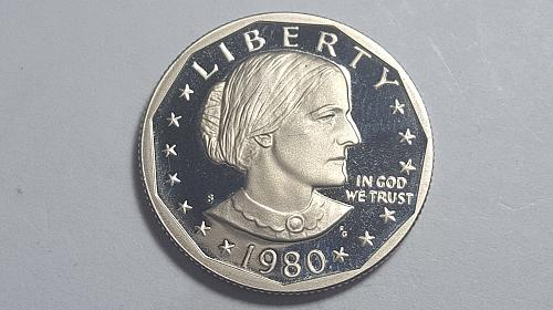 1980-S PROOF SUSAN B ANTHONY DOLLAR DEEP CAMEO BRILLIANT UNCIRCULATED
