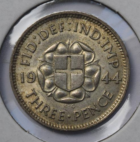 1944 Great Britain Silver 3 Pence - Key Date