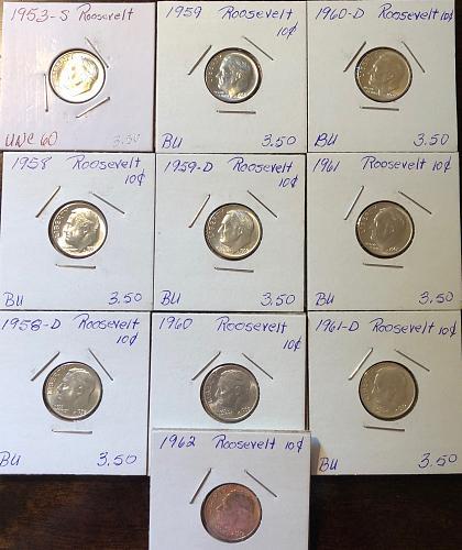 10 roosevelt Dimes 1953S,1958,1958D,1959,1959D,1960,1960D,1961,1961D,1962