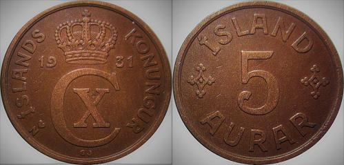 Iceland 1931 5 Aurar    0237