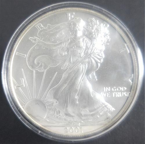 2001-W (NO MINT MARK) AMERICAN SILVER EAGLE; BULLION , ENCAPSULATED
