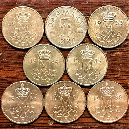 Denmark (8 coins) 5 Ore 1981 to 1988