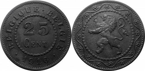 Belgium 1916 25 Centimes    0238