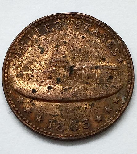 1863 Civil War Token - Capitol - Army & Navy