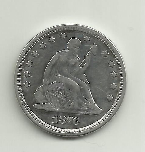 """1876 SEATED LIBERTY QUARTER DOLLAR  """"ON SALE"""" 12/28/19 SCANNED AT 1200 DPI"""