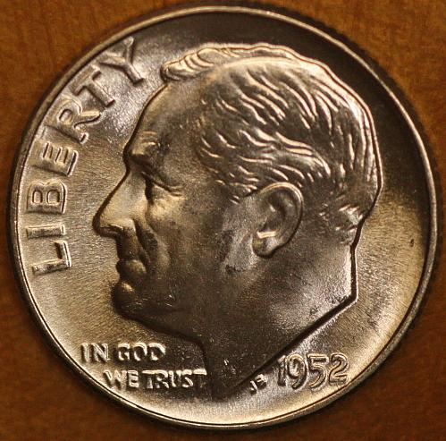1952 P Choice BU Roosevelt Dime from OBW Roll, Blazing White Luster!! FREE SHIPP