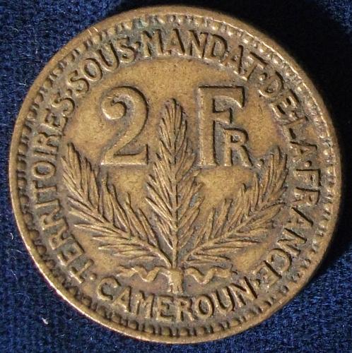 1925 Cameroon 2 Francs VF