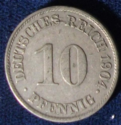 1904J Germany/Empire 10 Pfennig VF