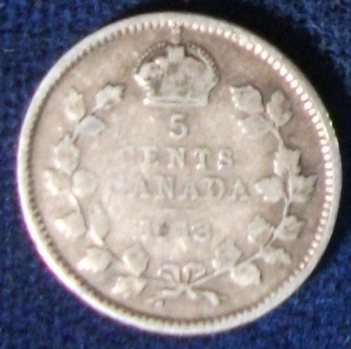 1913 Canada 5 Cents Fine
