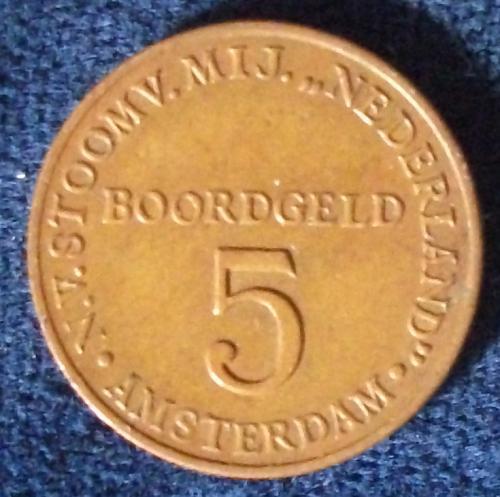1947 Boordgeld Stoomvaart Maatschappij Nederland 5 Cent Token