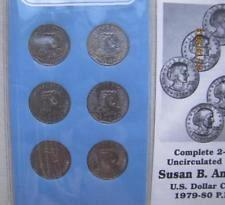 6 COIN SET --  1979- 1980- Year Uncirculated set of Susan B. Anthony U.S. Dollar