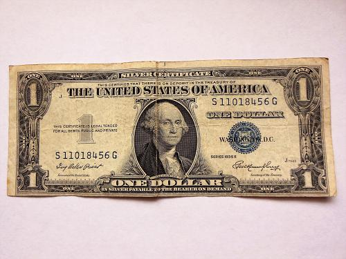 $1 1935-E Miscut Off Center Silver Certificate Error Bill