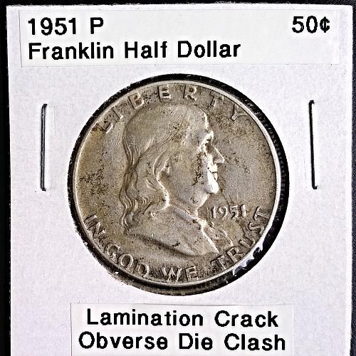 1951 P Franklin Half Dollar - Lamination Crack & Die Clash on Obverse - 9 Photos