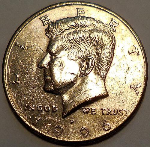 1996-P Kennedy Half Dollar Spike Head Die Crack Error.