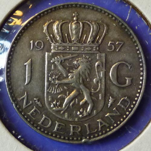 Netherlands 1 Gulden 1957 km 184 Silver