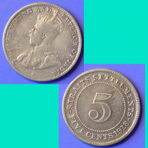 Straits Settlements 5 Cents 1918 km 31 Silver