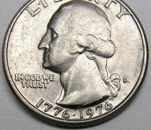1976 D Washington Quarter#1 with Obverse Die Crack Error as Shown