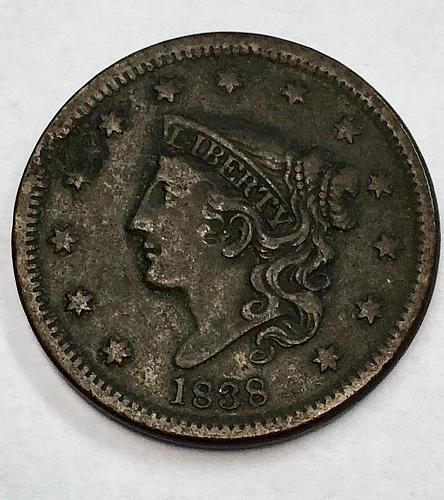 1838 Coronet Liberty Head Large Cent