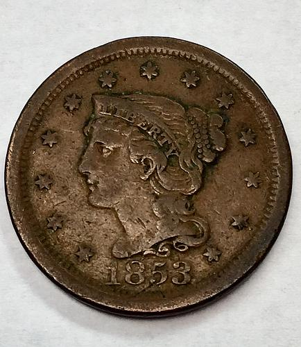 1853  Braided Hair Liberty Head Large Cent