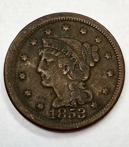 1853  Braided Hair Liberty Head Large Cent