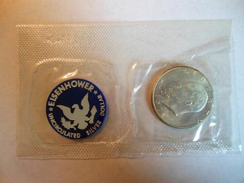 1971-S (40% Silver) Eisenhower Dollar in U.S. Treasury Blue Pack