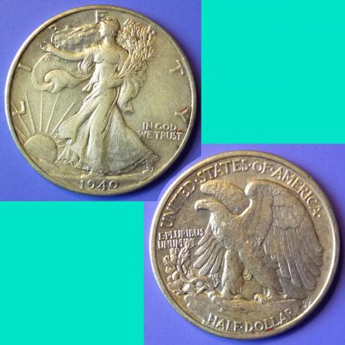 US USA United States of America Walking Liberty Half Dollar 1940 P km 142 silver