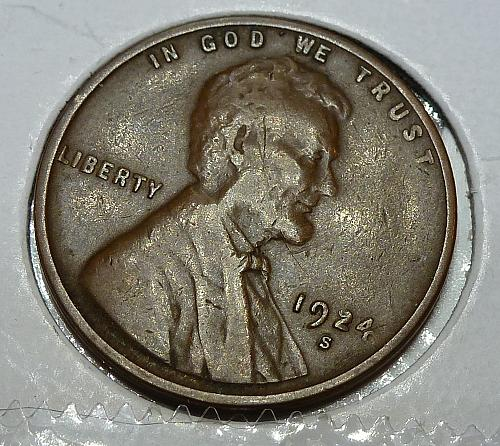 1924-S Extra Fine Lincoln Wheat Cent ( # 4129 )