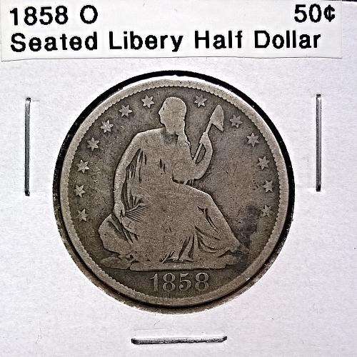 1858 O Seated Liberty Half Dollar - 10 Photos!